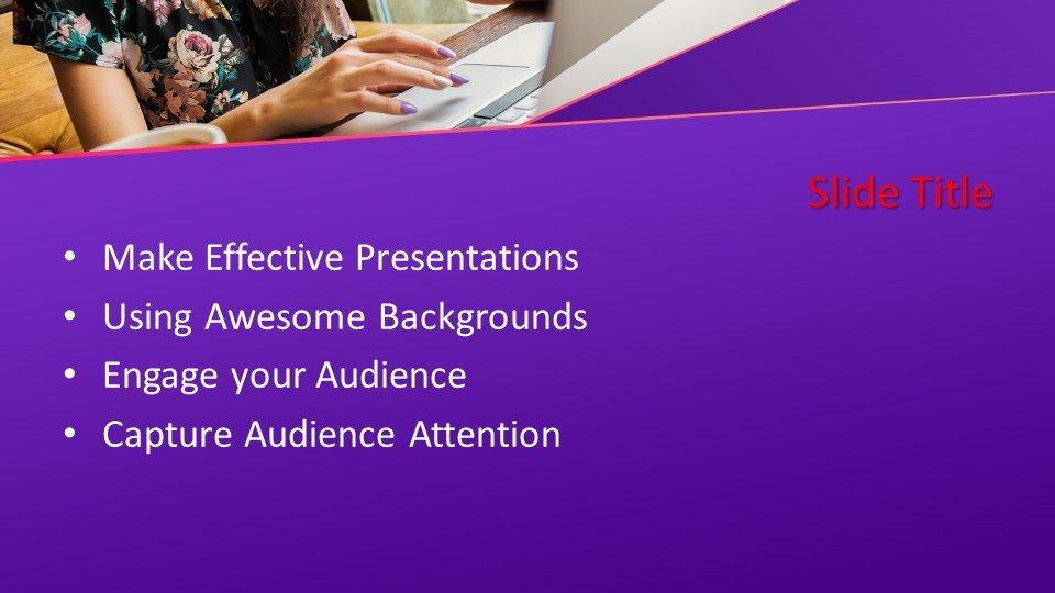 Powerpoint presentacion Mujer que trabaja en un portátil