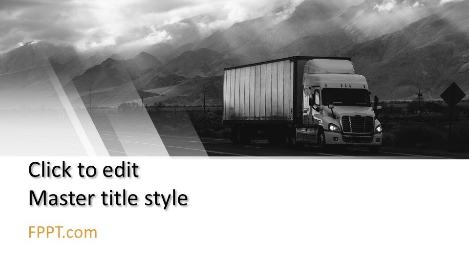 descargar plantilla powerpoint Logística de transporte camión