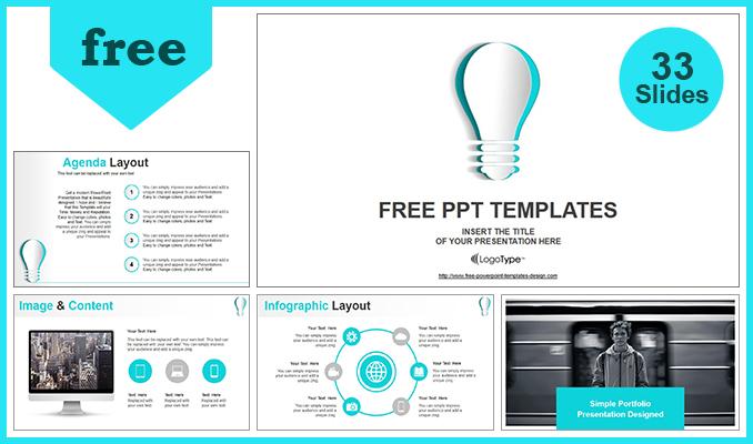 Presentaciones plantilla powerpointBombilla de ideas de papel