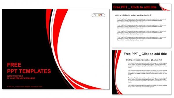 Presentaciones plantilla powerpointResumen fondo rojo y negro ondulado