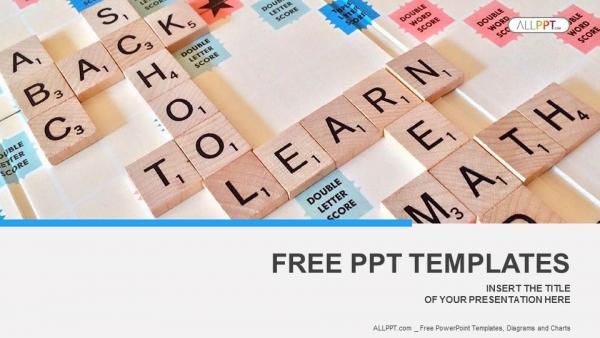Diapositivas plantilla powerpointLetras del alfabeto en piezas de scrabble de madera