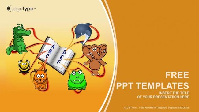 Plantilla powerpoint animales y educación alfabetos
