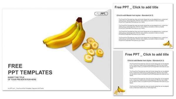 Powerpoint para presentacionesPlátanos enteros y cortados en rodajas sobre fondo blanco