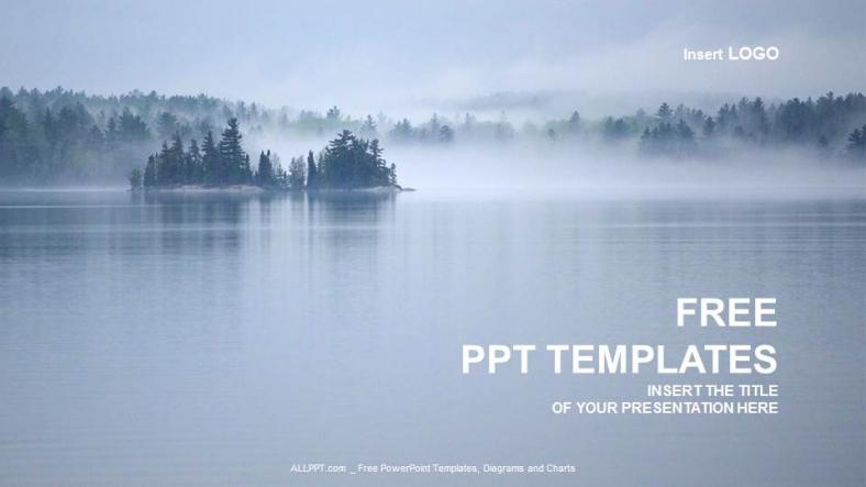 Diapositivas plantilla powerpointHermosa vista al lago