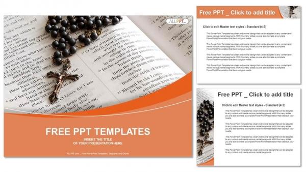 Presentaciones plantilla powerpointRosario de cuentas negras en biblia abierta