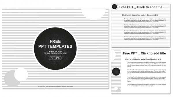 Diapositivas plantilla powerpointCírculos negros sobre fondo con rayas