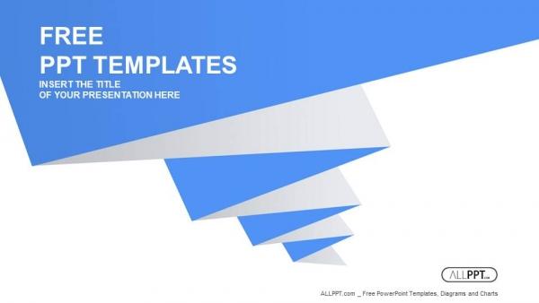 Powerpoint para presentacionesForma plisada azul sobre fondo blanco