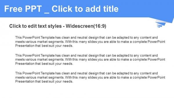 Presentaciones plantilla powerpointForma plisada azul sobre fondo blanco