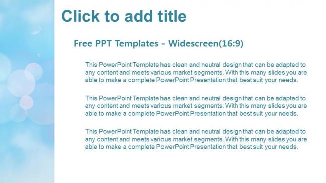 Diapositivas plantilla powerpointFondo azul Bokeh