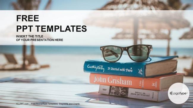 Plantilla Powerpoint: Libros sobre mesa de playa