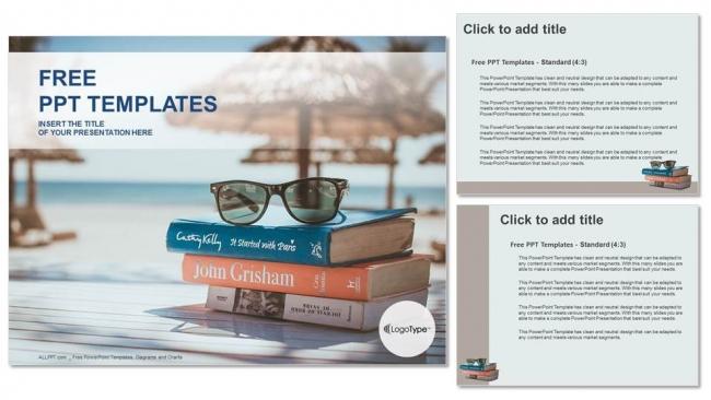 Presentaciones plantilla powerpointLibros sobre mesa de playa