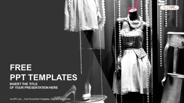 Descargar Presentaciones plantillas powerpointVitrina boutique con maniquíes en vestidos de moda