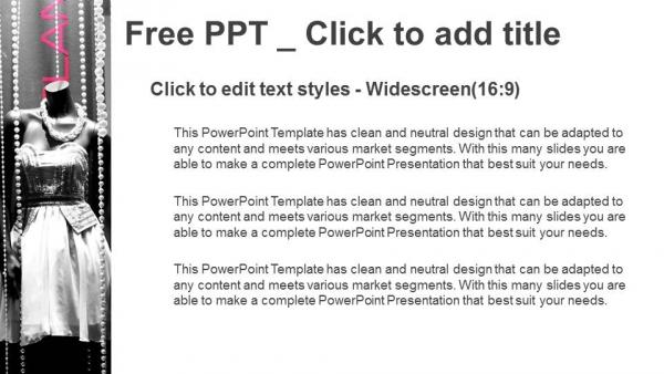 Diapositivas plantilla powerpointVitrina boutique con maniquíes en vestidos de moda