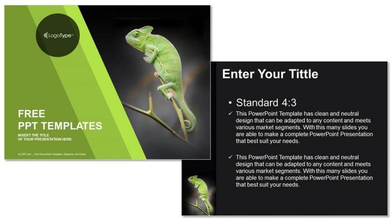 Powerpoint para presentacionesCamaleón sentado en una planta verde