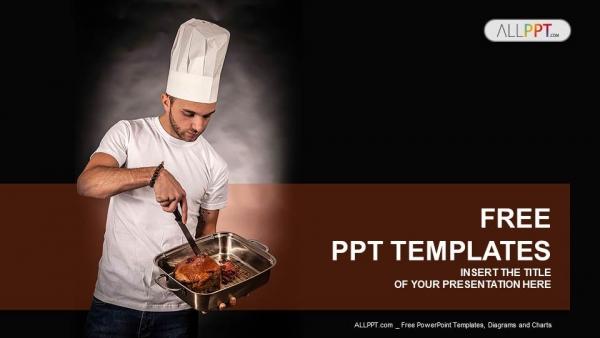 Presentaciones plantilla powerpointSartén del chef cocinero con carne