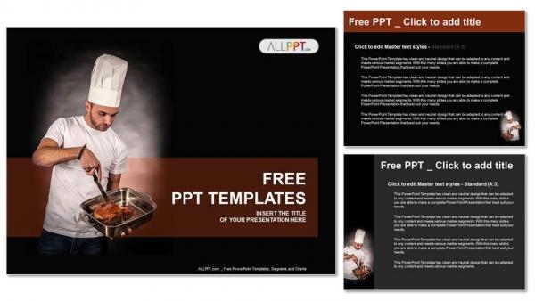 Powerpoint para presentacionesSartén del chef cocinero con carne