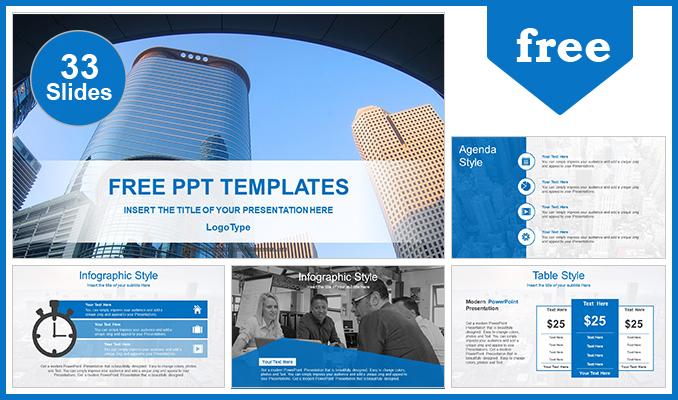 Presentaciones plantilla powerpointPaisajes de edificios de la ciudad