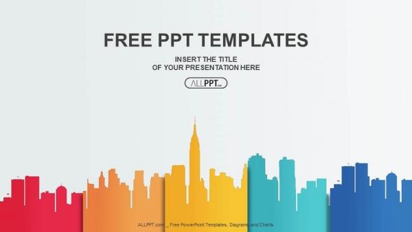 Diapositivas plantilla powerpointSiluetas y colores de los edificios de la ciudad