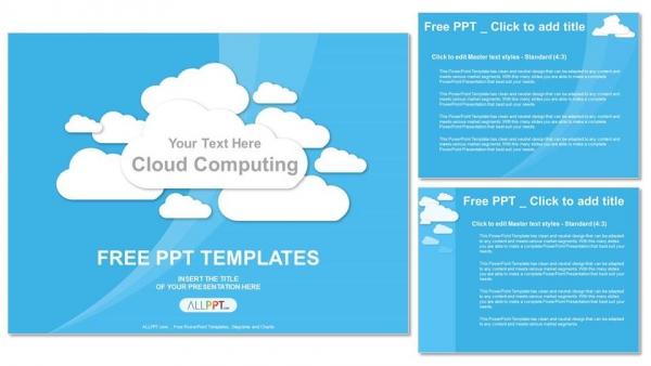 Descargar Presentaciones plantillas powerpointCloud Computing en azul