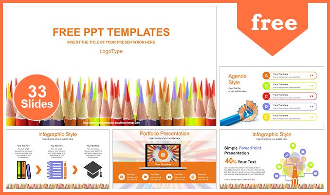 Presentaciones plantilla powerpointLápices de color Concept
