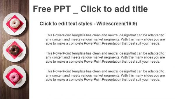 Descargar Presentaciones plantillas powerpointColoridas donas en el plato