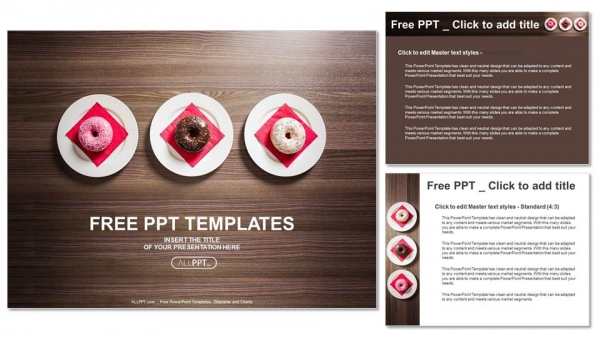 Diapositivas plantilla powerpointColoridas donas en el plato