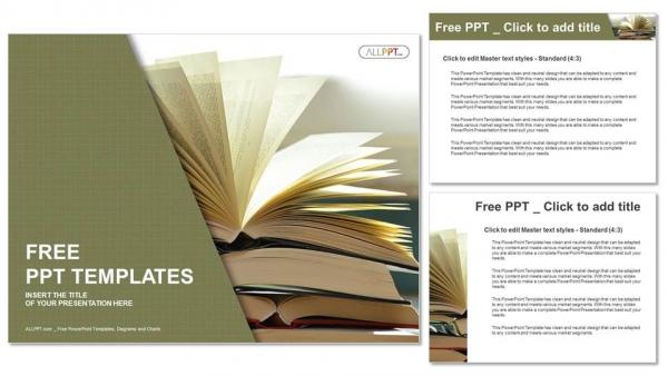 Diapositivas plantilla powerpointComposición con libros antiguos de tapa dura