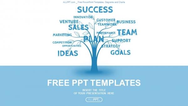Presentaciones plantilla powerpointConcepto de la palabra azul árbol de la comercialización de liderazgo o