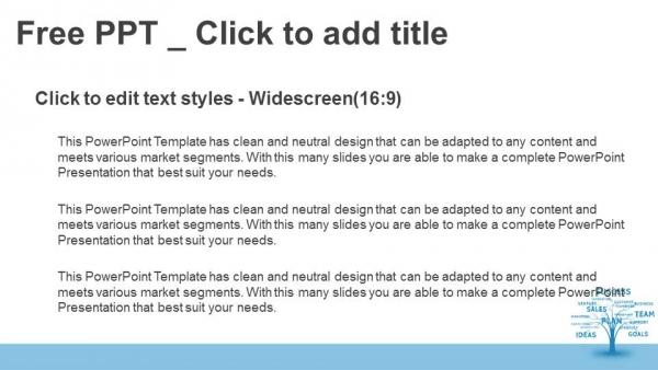 Diapositivas plantilla powerpointConcepto de la palabra azul árbol de la comercialización de liderazgo o
