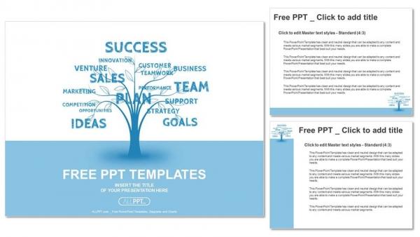 Powerpoint para presentacionesConcepto de la palabra azul árbol de la comercialización de liderazgo o