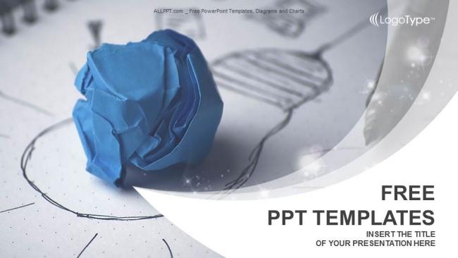 Descargar Presentaciones plantillas powerpoint Bombilla de papel arrugado