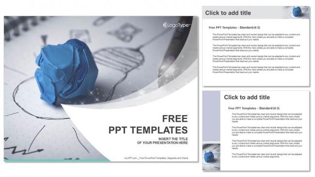 Presentaciones plantilla powerpoint Bombilla de papel arrugado