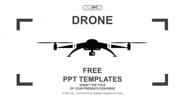 Descargar Presentaciones plantillas powerpointIcono de Drone en estilo plano negro