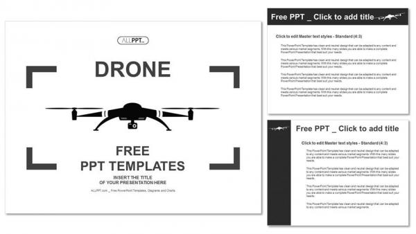 Diapositivas plantilla powerpointIcono de Drone en estilo plano negro