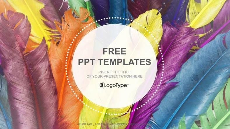 Diapositivas plantilla powerpointPlumas en colores
