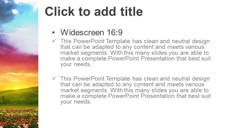 Diapositivas plantilla powerpointCampo con flores
