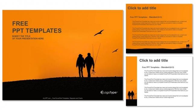 Powerpoint para presentacionesParejas de pescadores con puesta de sol