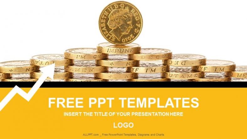 Plantilla Powerpoint: Monedas de Oro
