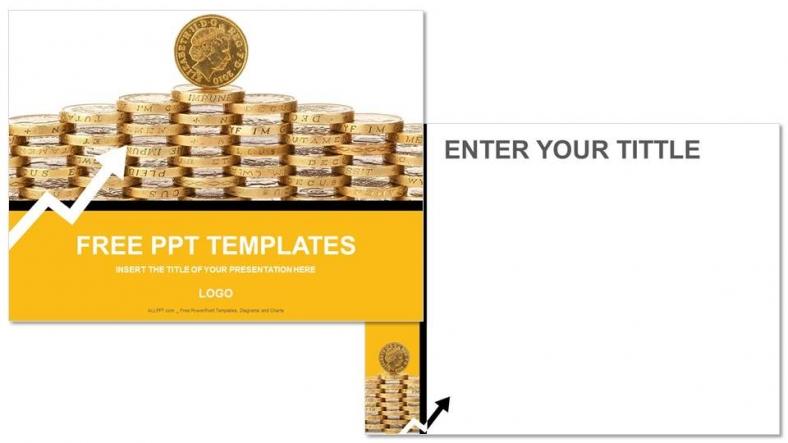 Diapositivas plantilla powerpointMonedas de Oro