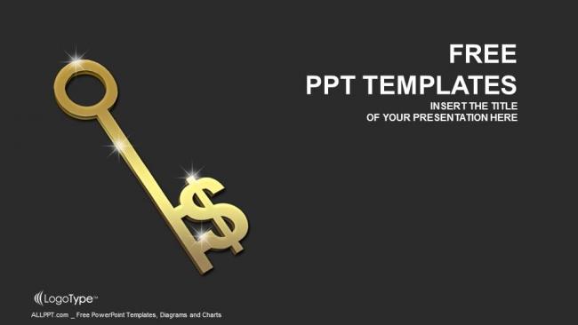Diapositivas plantilla powerpointLlave de oro con el signo del dólar