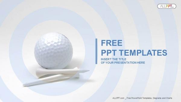 Presentaciones plantilla powerpointPelota de golf y tees blancos