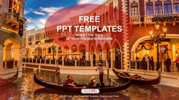 Diapositivas plantilla powerpointGóndolas con turistas en Venecia