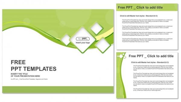 Presentaciones plantilla powerpointFondo verde y cuadrados