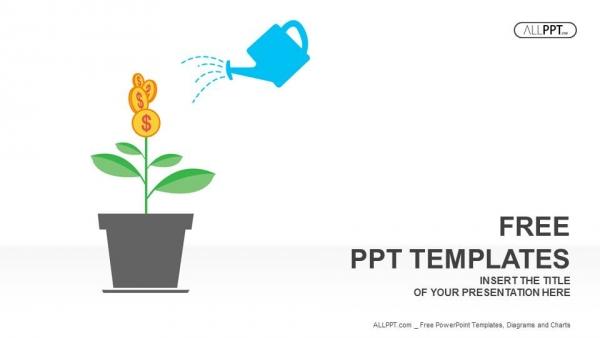 Powerpoint para presentacionesPlanta verde con monedas de dólar en las ramas