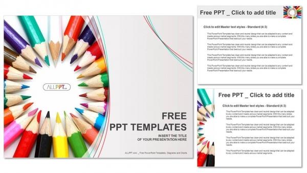 Presentaciones plantilla powerpointGrupo de lápices de color