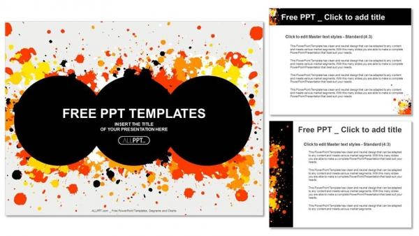 Presentaciones plantilla powerpointCírculo de grunge con salpicaduras de tinta CMYK