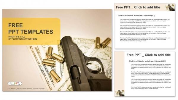 Diapositivas plantilla powerpointArma y grupo de balas