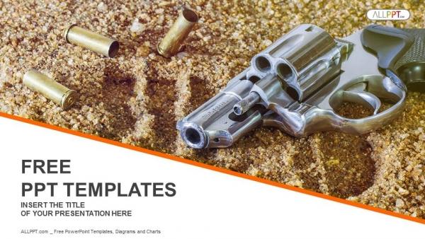 Diapositivas plantilla powerpointPistola y balas aisladas sobre fondo de arena