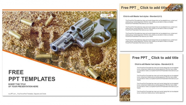 Presentaciones plantilla powerpointPistola y balas aisladas sobre fondo de arena