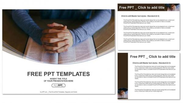 Presentaciones plantilla powerpointLas manos están dobladas en oración sobre el libro.